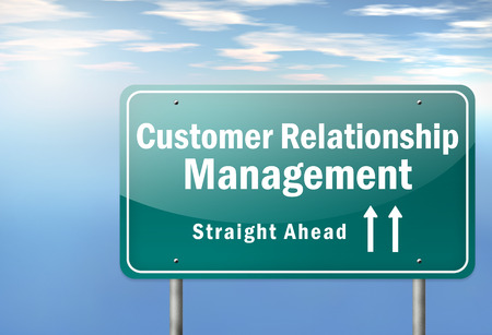 Highway Signpost with Customer Relationship Management wording photo