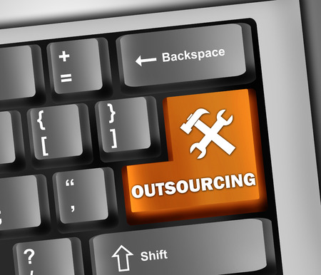 scalability: Keyboard Illustration with Outsourcing wording