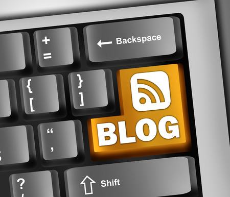 really simple syndication: Keyboard Illustration with Blog wording