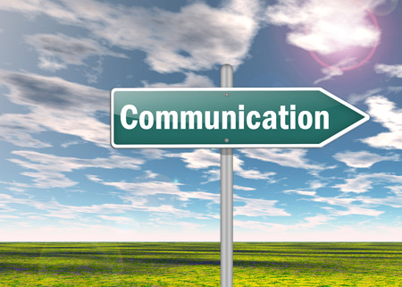 communicated: Signpost with Communication wording