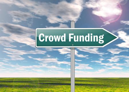 Signpost with Crowd Funding wording 版權商用圖片