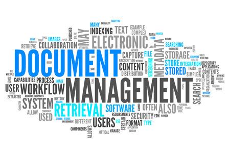 Nuage de mot avec la gestion des documents connexes Balises Banque d'images - 27183085