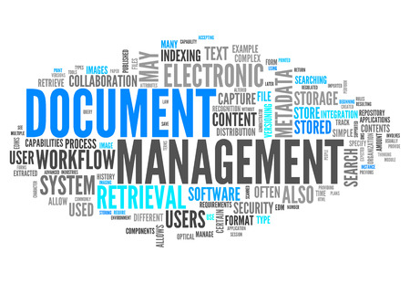 imaging: Word Cloud with Document Management related tags Stock Photo