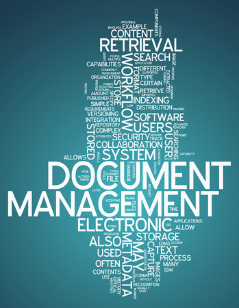 Word Cloud with Document Management related tags Foto de archivo