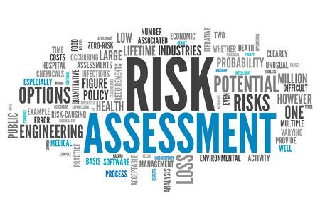 ingeniería: Nube de la palabra con las etiquetas de la evaluación de riesgos relacionados Foto de archivo