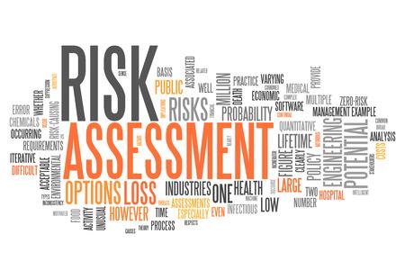 Word Cloud avec l'évaluation des risques liés balises Banque d'images - 27183115