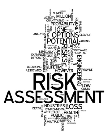 Word Cloud with Risk Assessment related tags Stock Photo