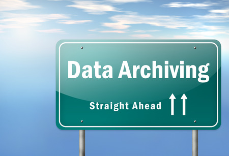 archiving: Highway Signpost with Data Archiving wording