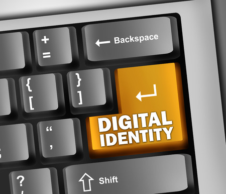 identifiers: Keyboard Illustration with Digital Identity wording