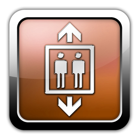 pneumatic: Icon, Button, Pictogram with Elevator symbol Stock Photo