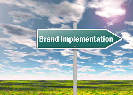 marketers: Signpost with Brand Implementation wording Stock Photo