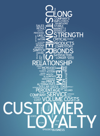 satisfied customer: Word Cloud with Customer Loyalty related tags Stock Photo