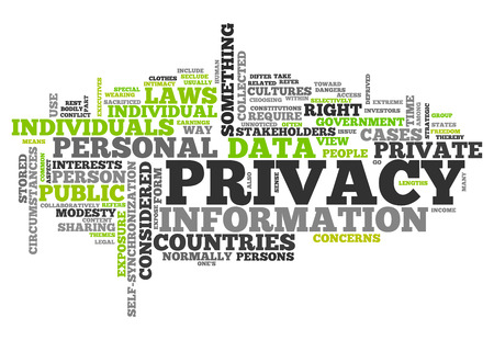 discrete: Word Cloud with Privacy related tags Stock Photo
