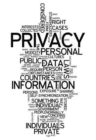 discretion: Word Cloud with Privacy related tags Stock Photo
