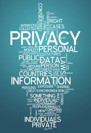 anonymity: Word Cloud with Privacy related tags Stock Photo