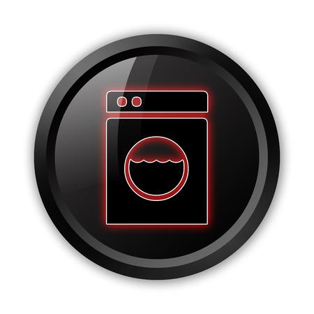 laundromat: Icon, Button, Pictogram with Laundromat symbol Stock Photo