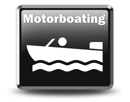 ramps: Icon, Button, Pictogram with Motorboat symbol Stock Photo