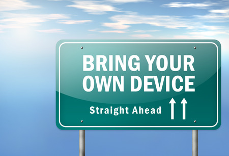 bring: Highway Signpost with BYOD - Bring Your Own Device wording
