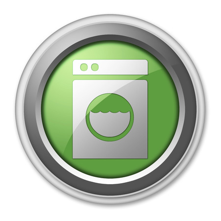 launderette: Icon, Button, Pictogram with Laundromat symbol Stock Photo