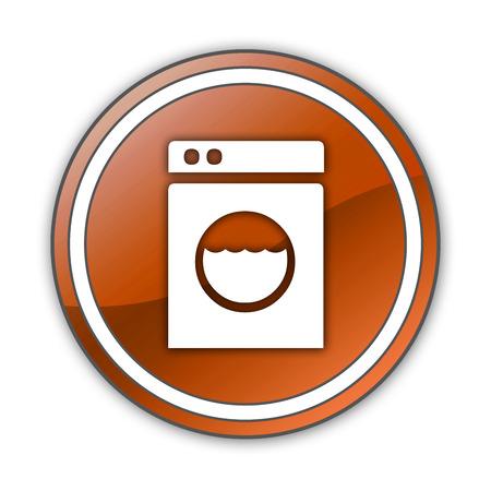 launderette: Icon, Button, Pictogram with Laundromat symbol Stock Photo