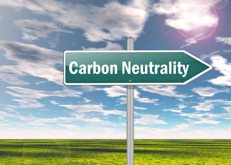neutralizować: Drogowskaz z brzmieniem neutralności węglowej