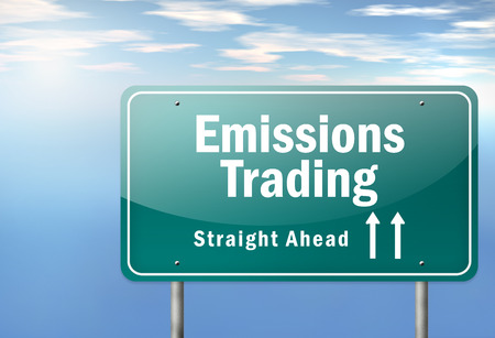 emissions: Highway Signpost with Emissions Trading wording