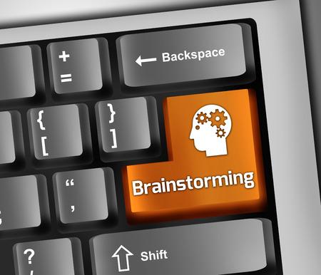 Illustrazione Tastiera con Brainstorming formulazione Archivio Fotografico - 27320494