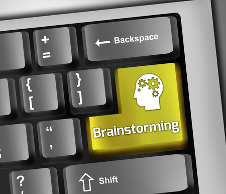Illustrazione Tastiera con Brainstorming formulazione Archivio Fotografico - 27320538
