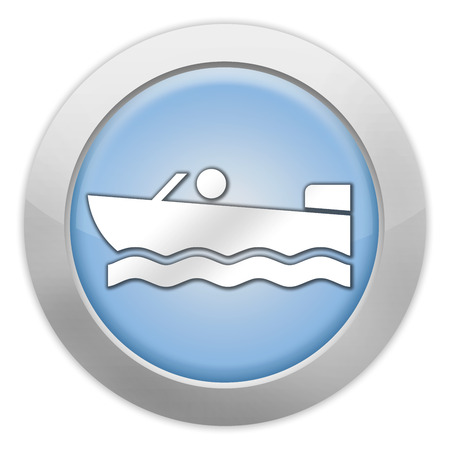 Icon, Button, Pictogram with Motorboat symbol Stock Photo