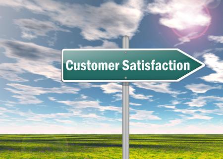 Wegweiser mit Kundenzufriedenheit Wortlaut