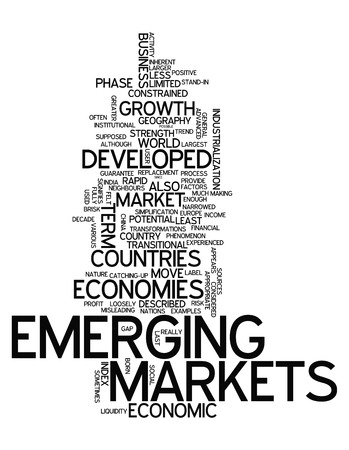 Word Cloud Opkomende Markten gerelateerde tags Stockfoto