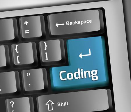 Keyboard Illustration with Coding wording
