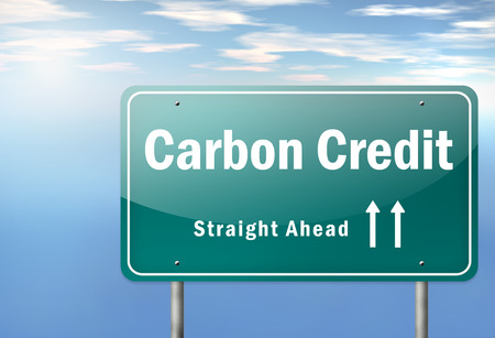 emission: Highway Signpost with Carbon Neutrality wording Stock Photo