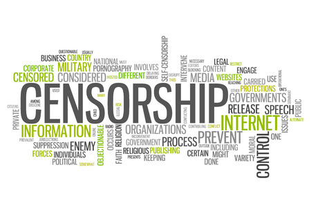 censoring: Word Cloud with Censorship related tags Stock Photo