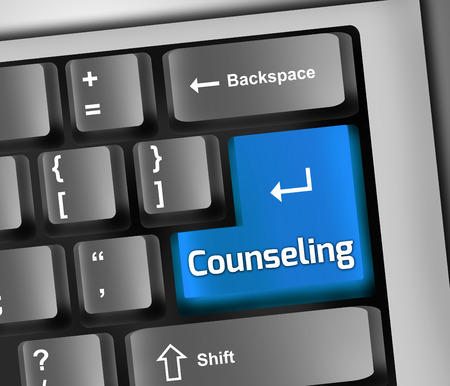 psychologist: Keyboard Illustration with Counseling wording