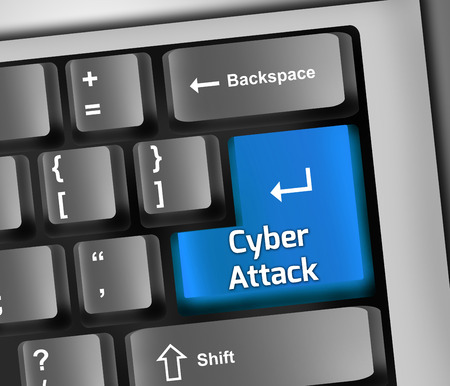 Keyboard Illustration with Cyber Attack wording illustration
