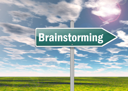 Signpost with Brainstorming wording Stock Photo