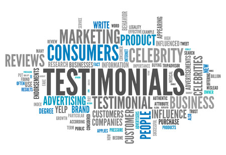 Word Cloud with Testimonials related tags Foto de archivo