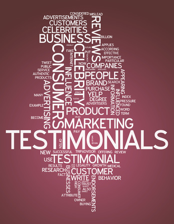 endorsement: Word Cloud with Testimonials related tags Stock Photo