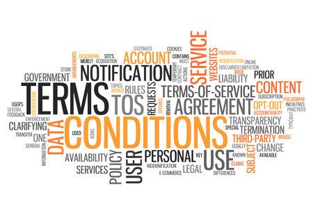legal: Word Cloud with Terms and Conditions related tags