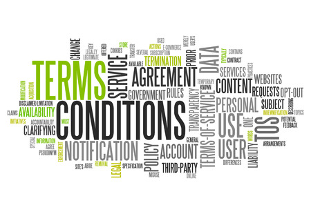Word Cloud with Terms and Conditions related tags photo