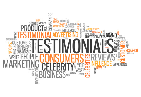 testimonials: Word Cloud with Testimonials related tags Stock Photo
