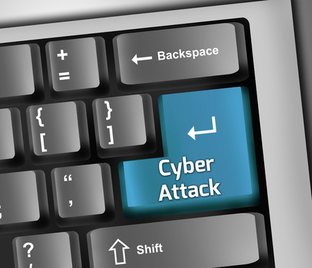 cyberwarfare: Keyboard Illustration with Cyber Attack wording