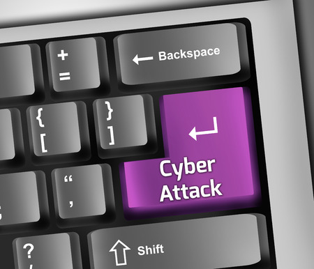 cyber attack: Keyboard Illustration with Cyber Attack wording