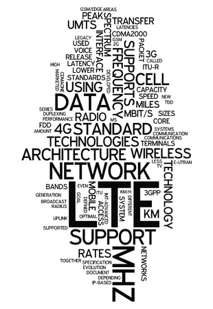Word Cloud with LTE related tags Stock Photo