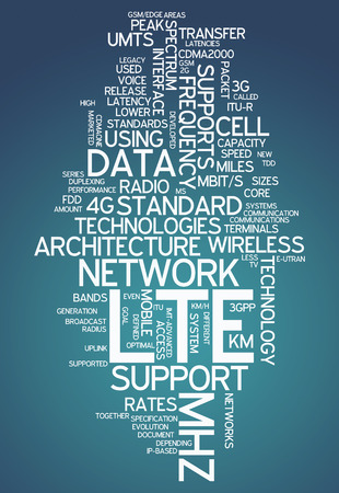 long term evolution: Word Cloud with LTE related tags Stock Photo