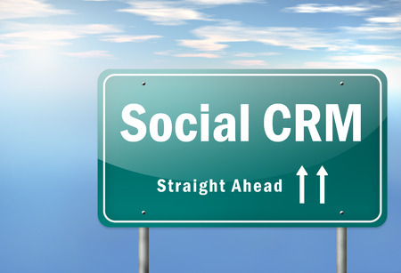 crm: Highway Signpost with Social CRM wording