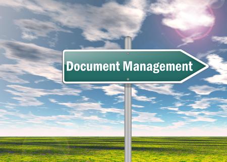 document management: Signpost met Document Management verwoording Stockfoto