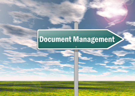 dms: Signpost with Document Management wording Stock Photo