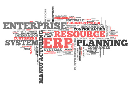 Word Cloud with Enterprise Resource Planning related tags photo